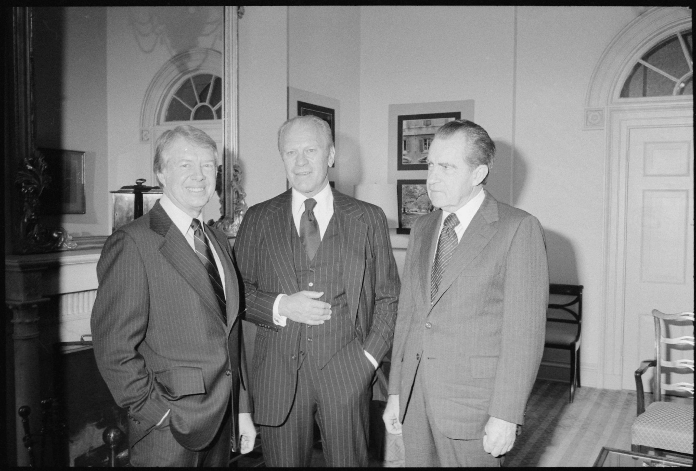 File Jimmy Carter Gerald Ford And Richard Nixon Gather At The White House During Hubert Humphreys Funeral Nara 177593 Jpg