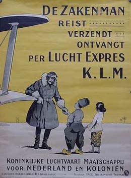 KLM poster featuring the airline's first commercial slogan. It is likely dated around the late 1920s, after it started service to Batavia Klm-poster-1919.jpg