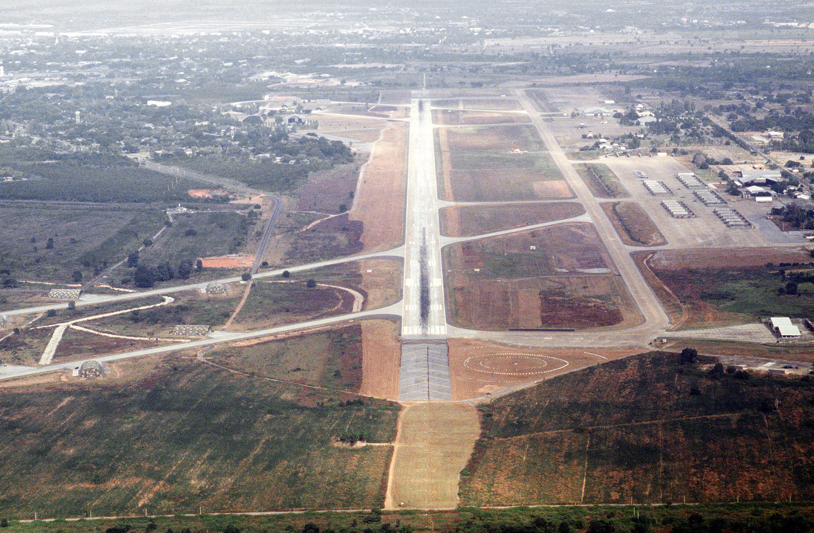 Usaf In Thailand http://en.wikipedia.org/wiki/File:Korat_Royal_Thai_Air_Force_Base_-_overhead.jpg