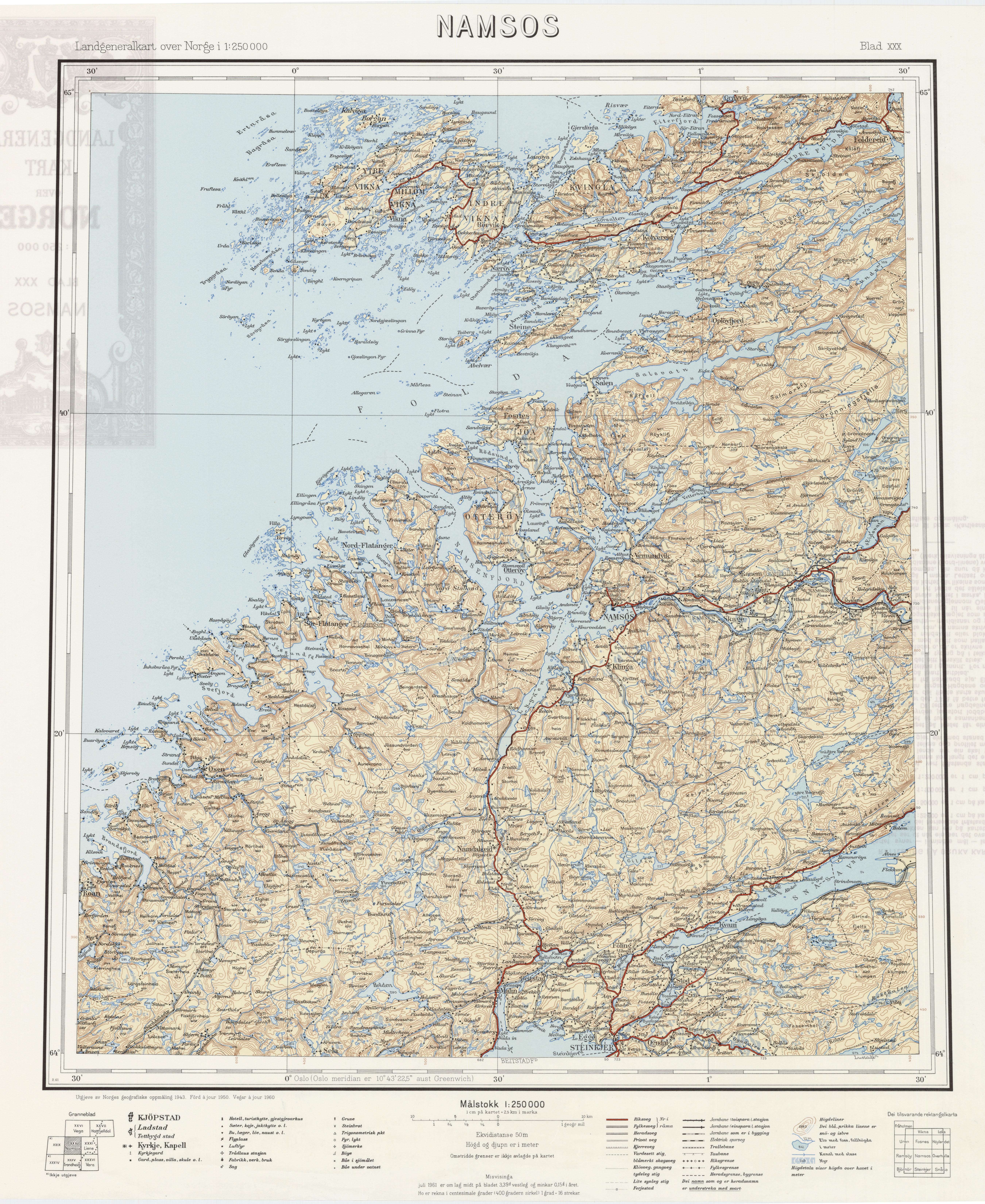 namsos kommune kart File:Landgeneralkart 30, Namsos, 1960.   Wikimedia Commons