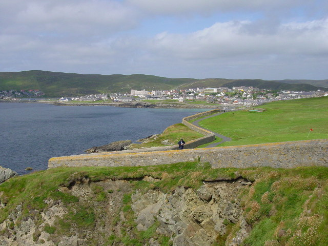 Lerwick from The Horse of the Knabb. Looking NW from the headland south of Lerwick called the Horse of the Knabb. The inlet is called Brei Wick.