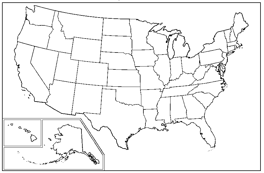 United States Map Bw