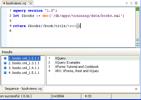 screen image of XQuery execution in oXygen IDE