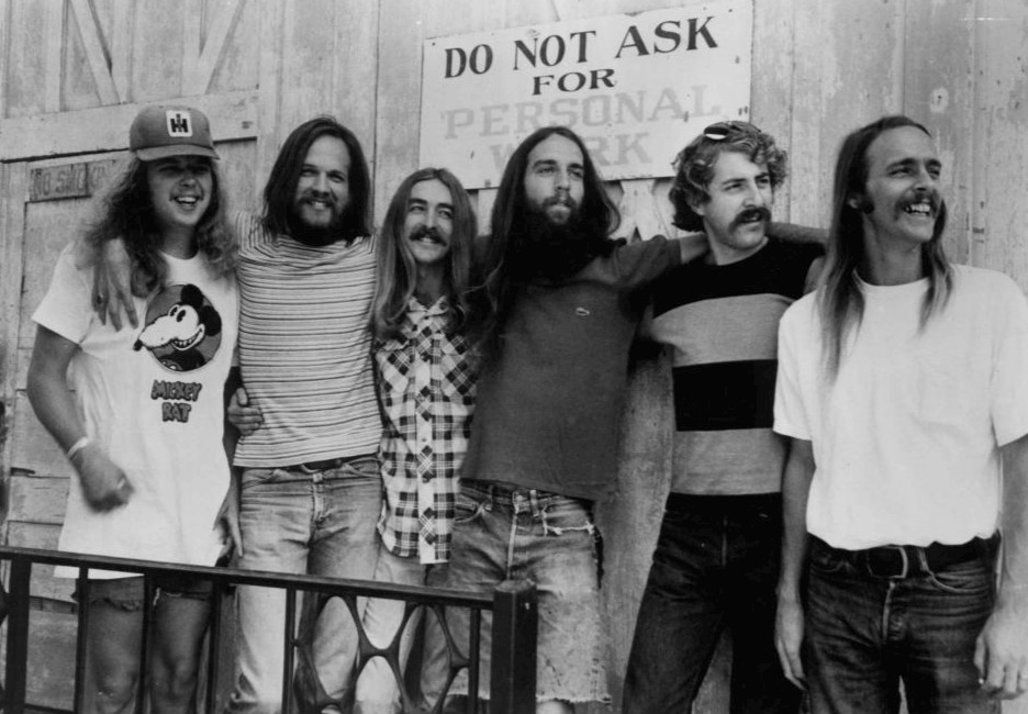 The band in 1975. From left: Buddy Brayfield, John Dillon, Larry Lee, Mike 'Supe' Granda, Randle Chowning, Steve Cash.