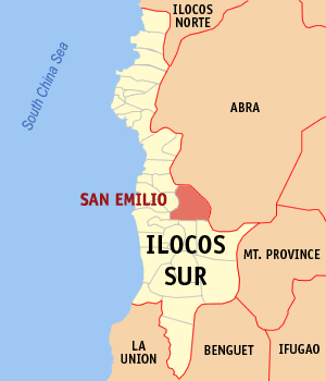 Map of Ilocos Sur showing the location of San Emilio