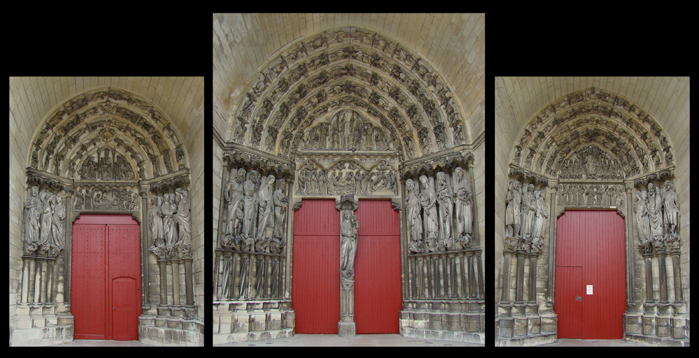 Laon Cathedral, Aisne, Picardie, France. The west façade three portals.