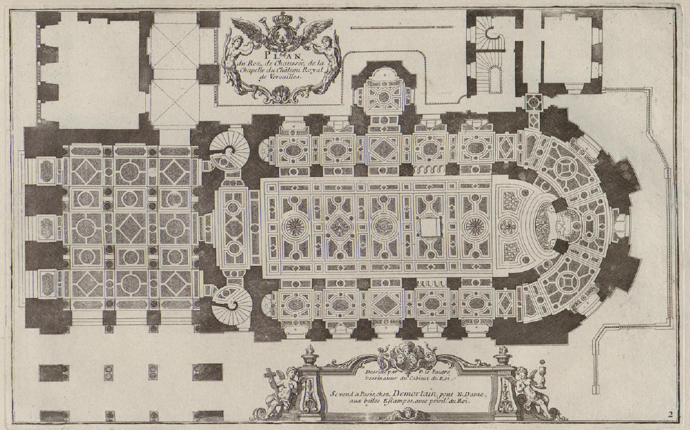file pierre lepautre plan du rez de chauss e de la chapelle royale de versailles circa 1725. Black Bedroom Furniture Sets. Home Design Ideas