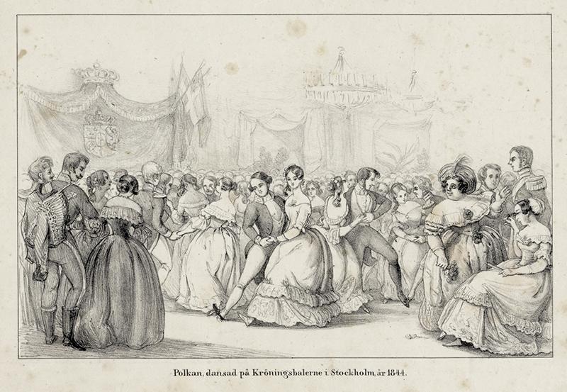 File:Polkan, dansad på Kröningsbalerne i Stockholm år 1844. Teckning troligen gjord av Fritz von Dardel - Nordiska Museet - NMA.0059056.jpg