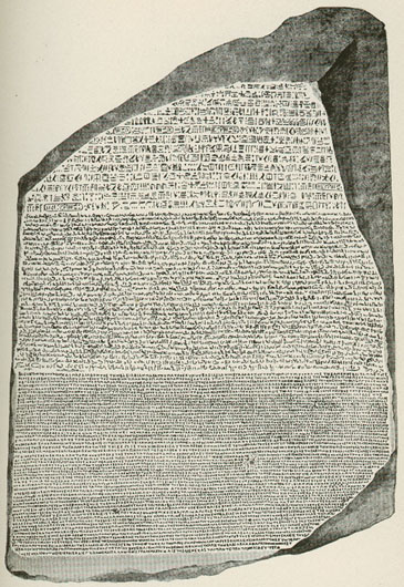 The early 19th-century editions of Encyclopaedia Britannica included influential, original research such as Thomas Young's article on Egypt, which included the translation of the hieroglyphs on the Rosetta Stone (pictured). Rosetta Stone.jpg