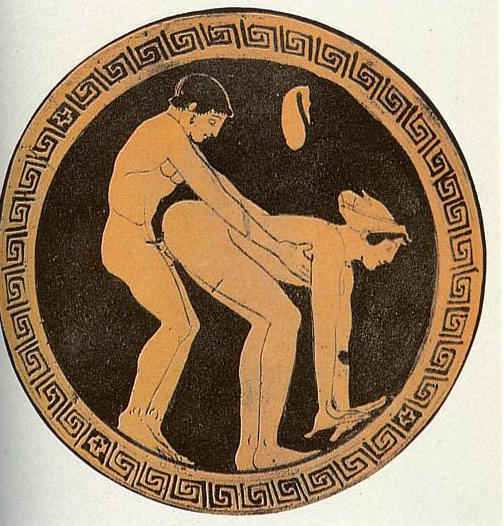 Sexual scene on a red-figure tondo of a kylix by the Wedding Painter.jpg