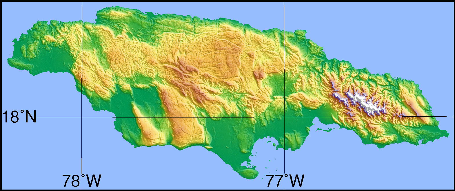 File Simple Topographic Map Of Jamaica Png Wikimedia Commons