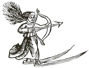 Hunting ski goddess, or Sami woman hunting on ski, from Olaus Magnus, 1555.
