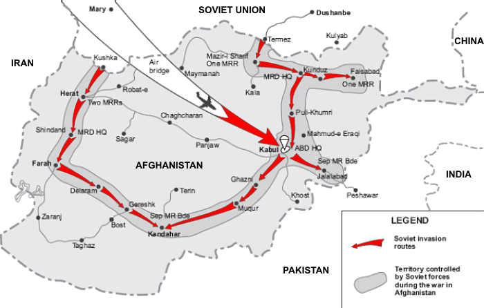 Map, showing Khabarov′s air assault battalion route, from the Soviet-Afghani border to the Salang Pass, through Mazar-i-Sharif, Kunduz, and Puli Khumri.