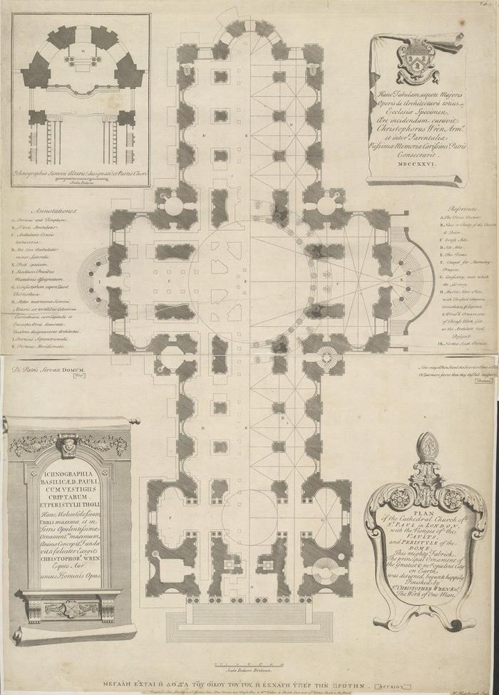 Plano de San Pablo de Londres, de Christopher Wren