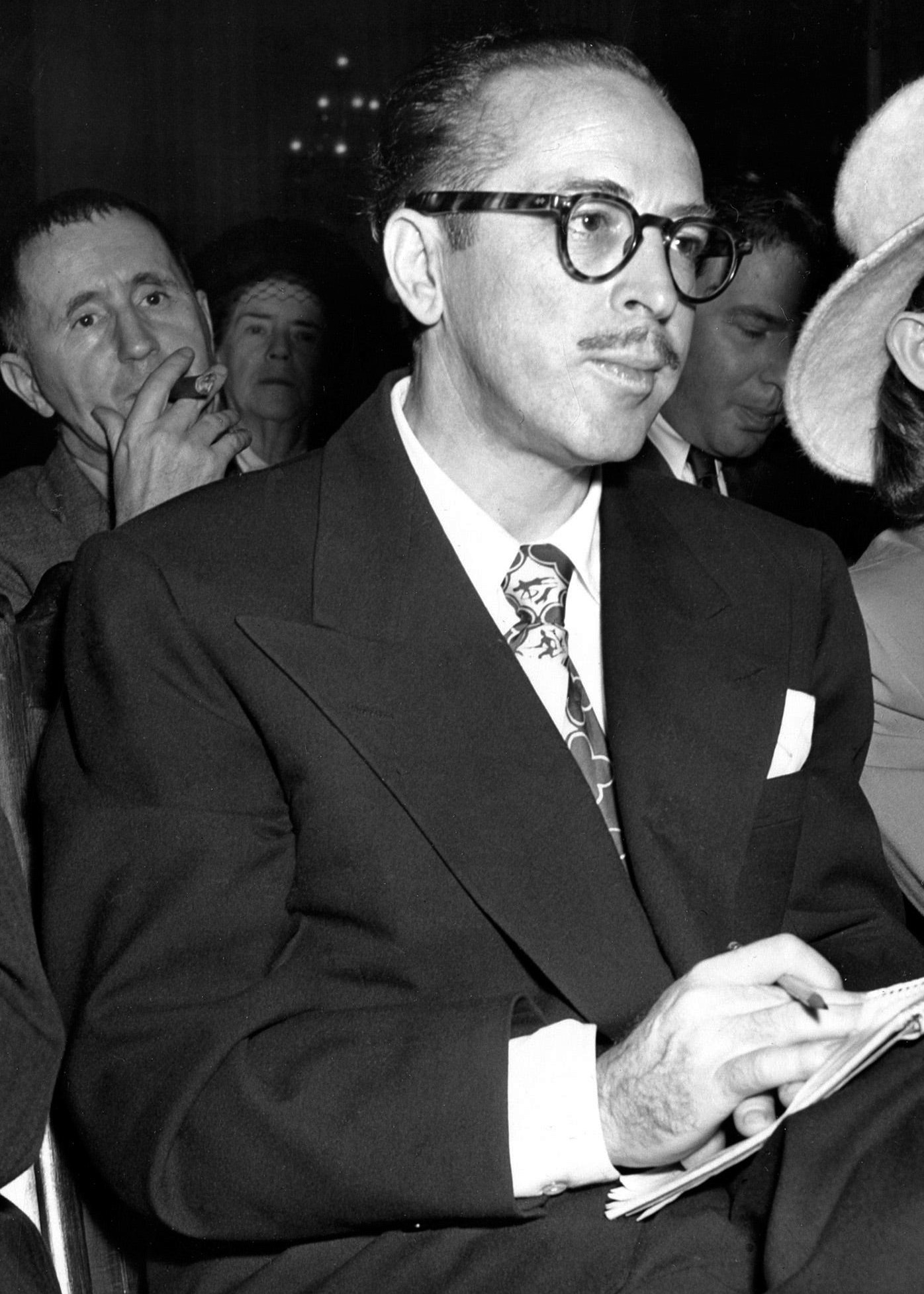 Trumbo at the [[House Un-American Activities Committee]] hearings in 1947