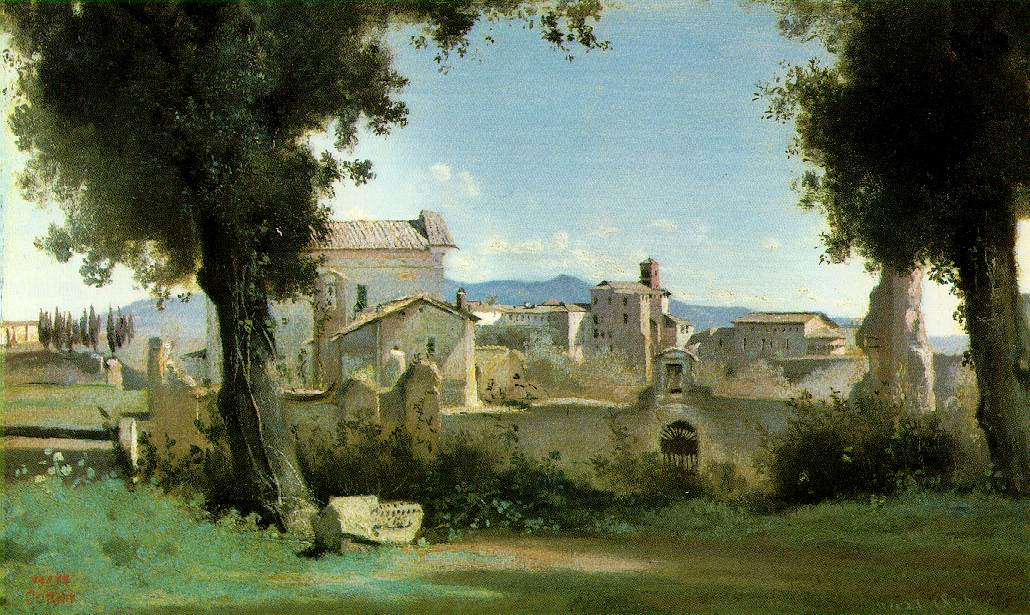 File view from the farnese gardens rome camille corot for Peinture effet miroir