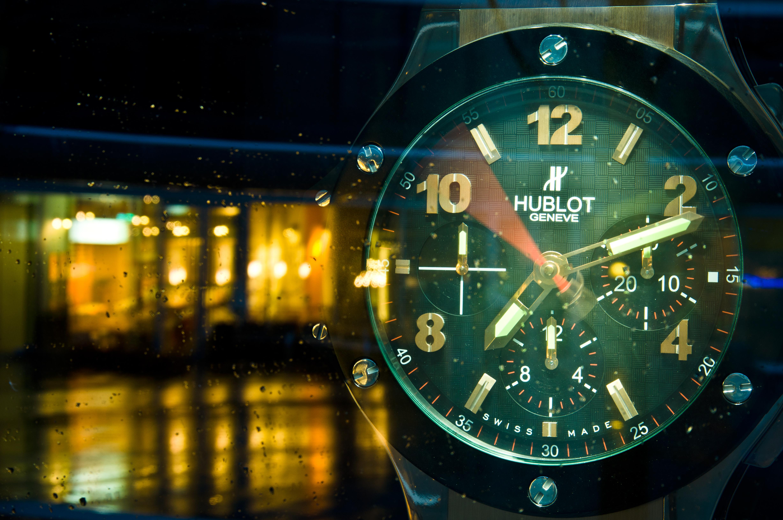 An enormous Hublot wristwatch at Hublot Boutique shop window in Warsaw