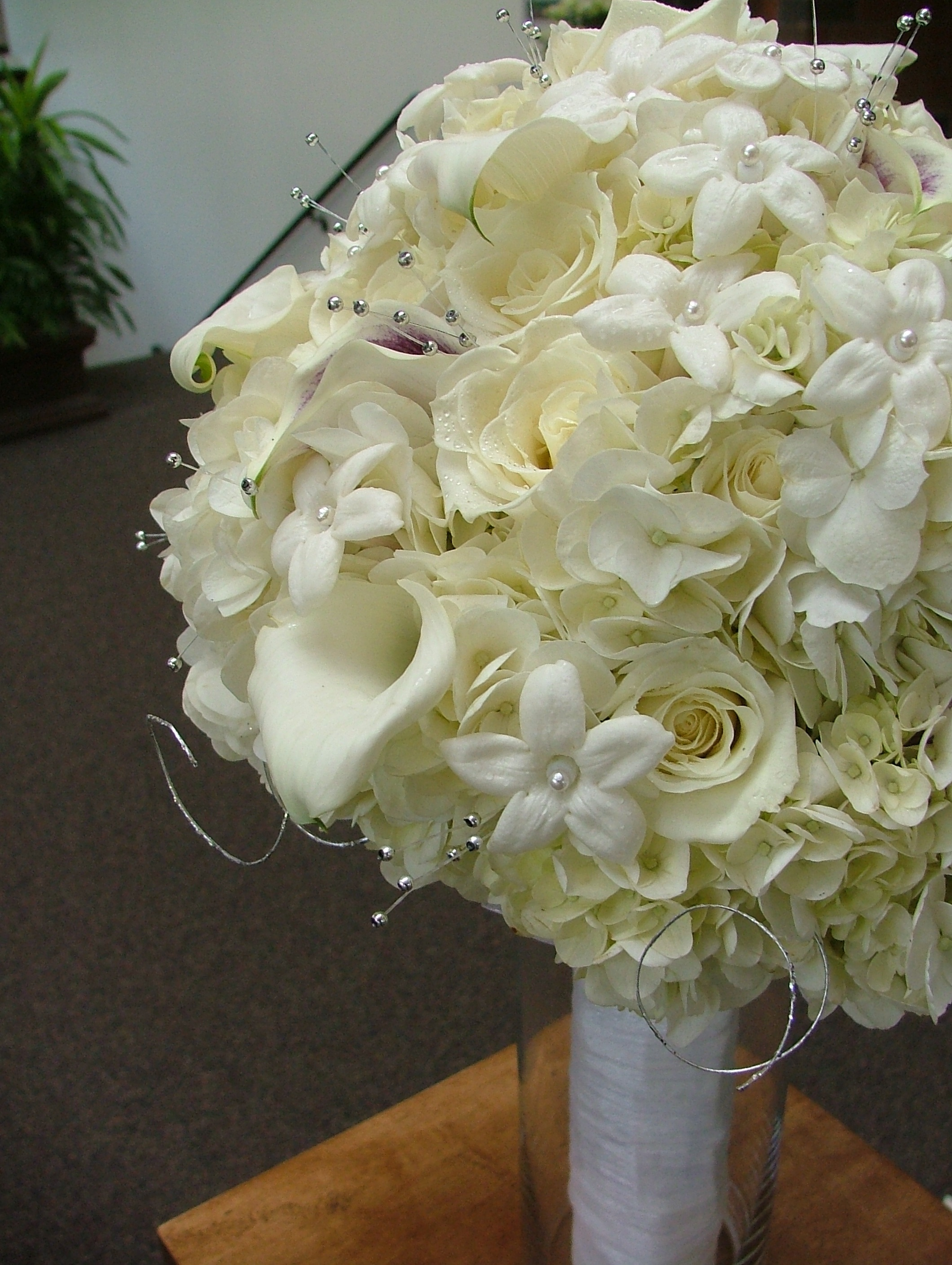 Bridal bouquets peonies hydrangeas roses 2013 lilies tulips with brooches purple white roses - Flowers good luck bridal bouquet ...