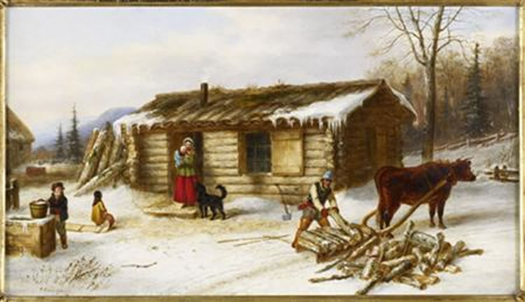 'Chopping Logs Outside a Snow Covered Log Cabin', oil painting by Cornelius Krieghoff