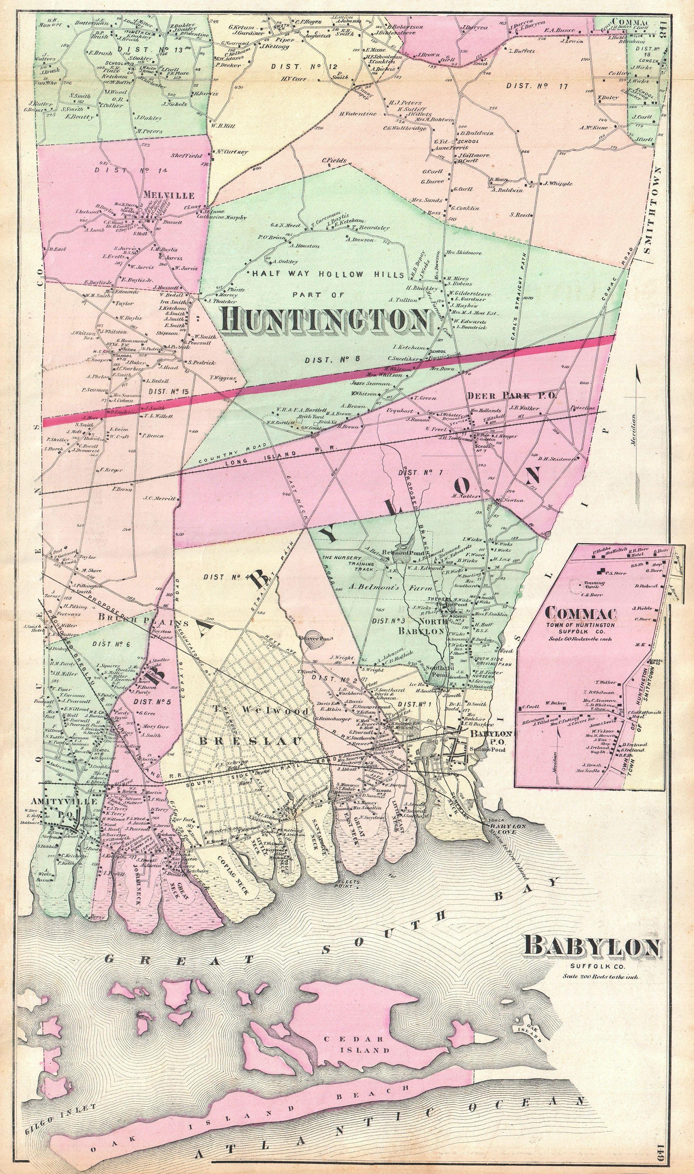 File:1873 Beers Map of Babylon and Huntington, Long Island ... on map with arrow to babylon, map of long island ny, map of babylon village ny,