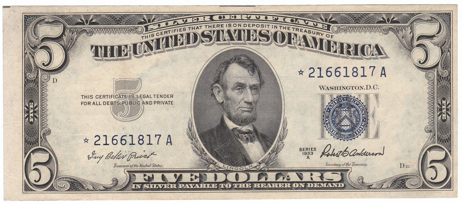 dollar silver certificate 1953 note money bill value star seal commons coined