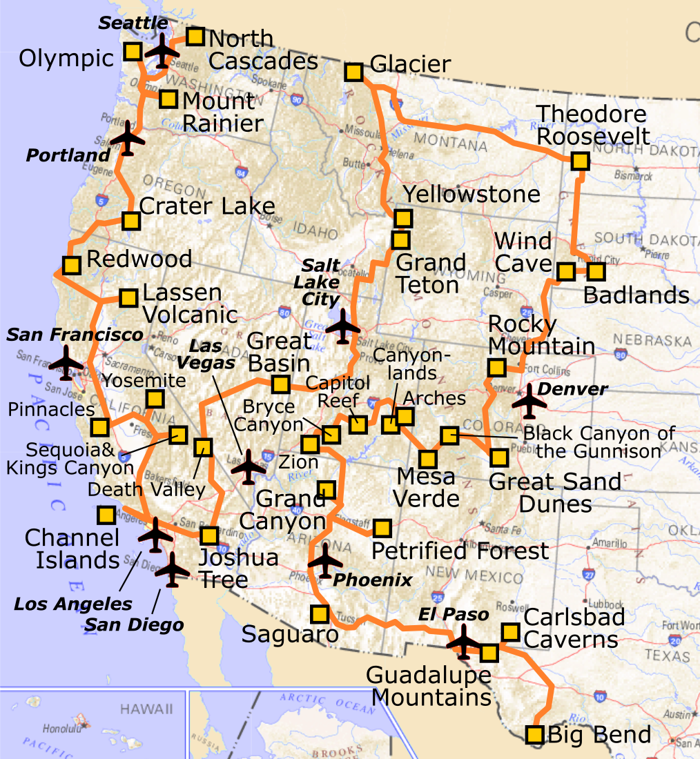 United States Map Of National Parks.File A Very Short Route Through All National Parks In The Western