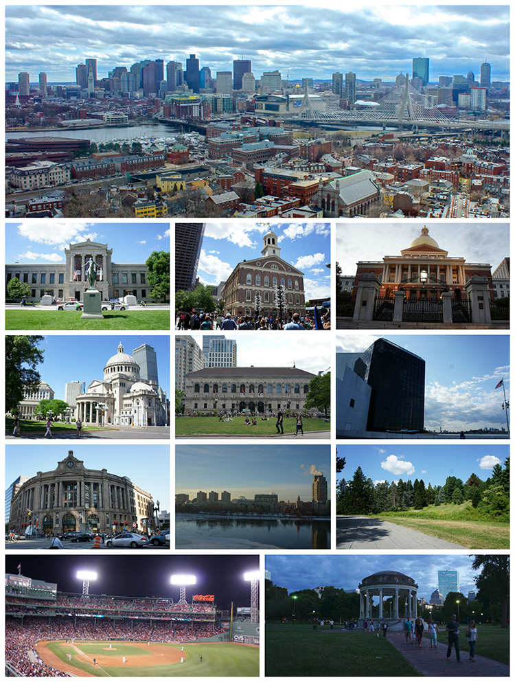 From top to bottom, left to right: the Boston skyline viewed from the Bunker Hill Monument; the Museum of Fine Arts; Faneuil Hall; Massachusetts State House; The First Church of Christ, Scientist; Boston Public Library; the John F. Kennedy Presidential Library and Museum; South Station; Boston University and the Charles River; Arnold Arboretum; Fenway Park; and the Boston Common