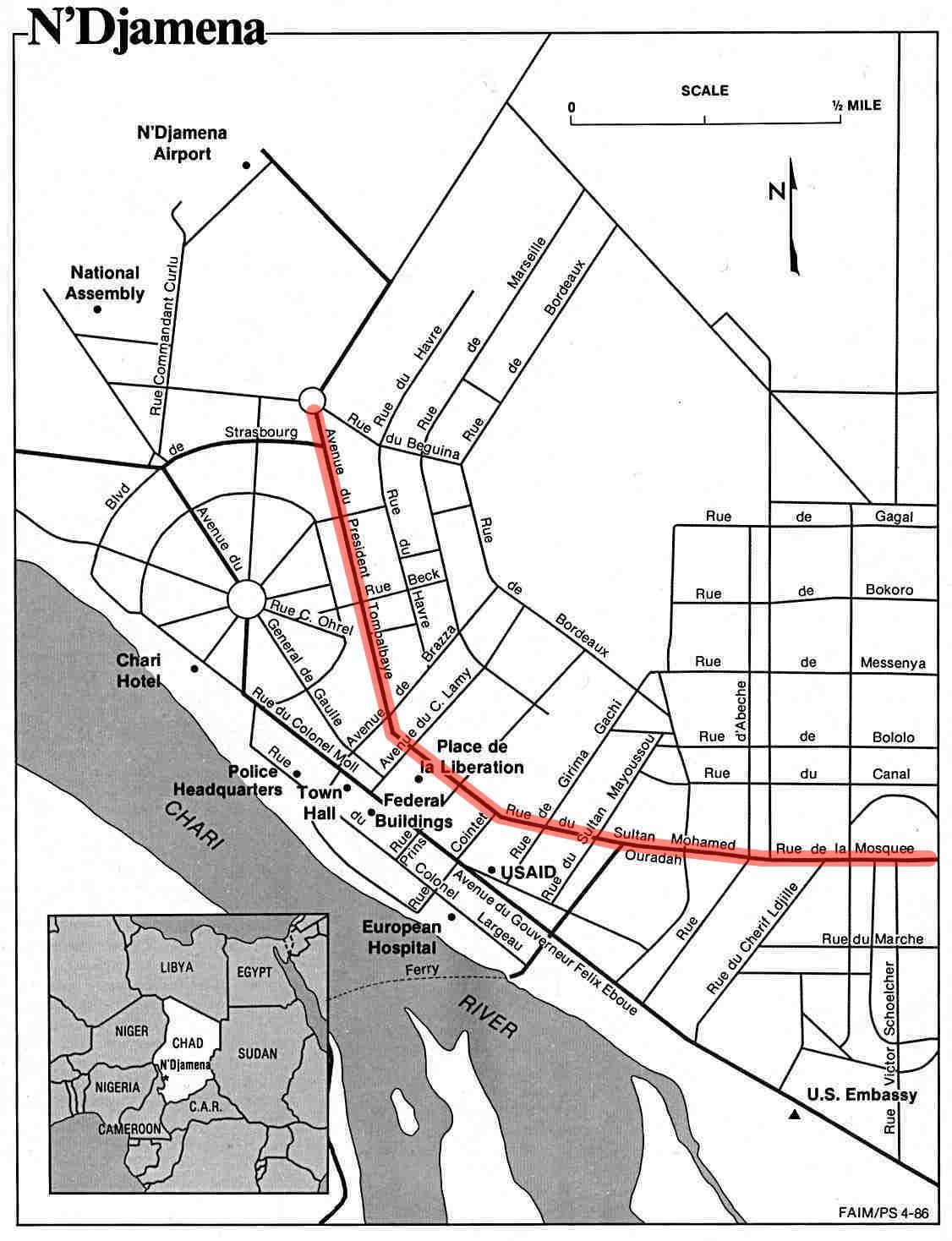 File:Charles de Gaulle Avenue N'djamena.JPG - Wikimedia Commons N'Djamena Map