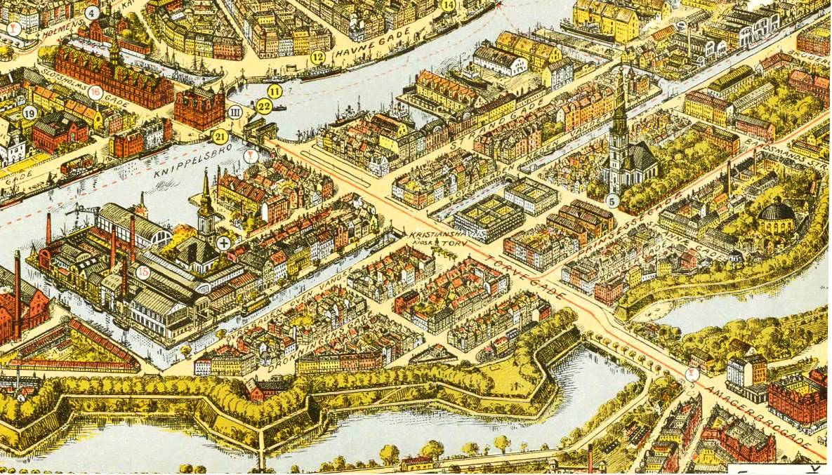 Illustration du quartier de Christianshavn à Copenhague - Illustration de Franz Šedivý