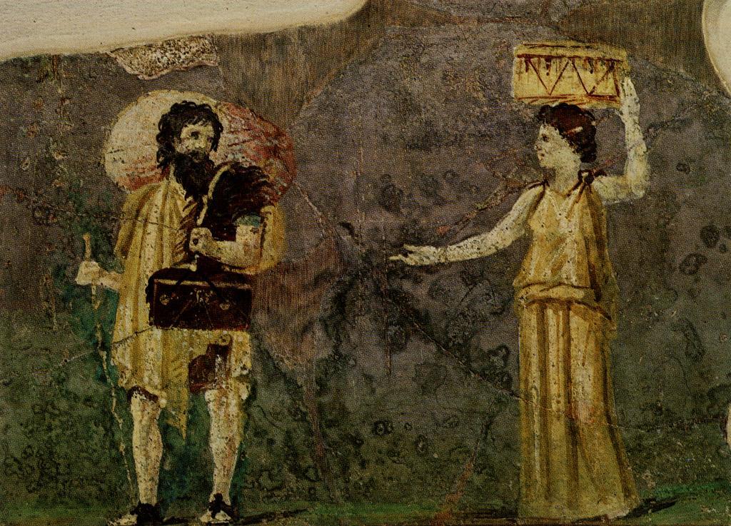 Pintura romana retratando Hipárquia e Crates da Villa Farnesina, Roma
