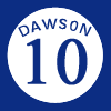 Andre Dawson's retired #10 jersey with the Mon...