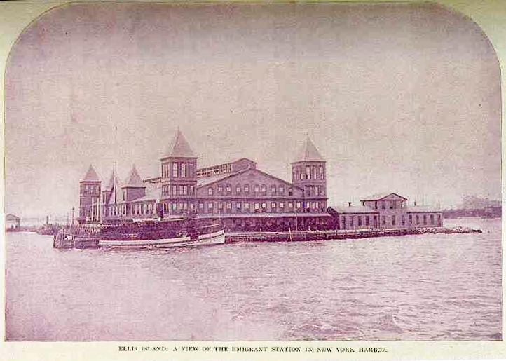 First Ellis Island Immigrant Station, opened on January 1, 1892. Built of wood, it was completely destroyed by fire on June 15, 1897.