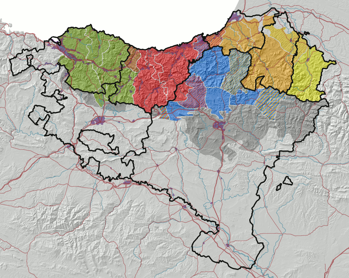 The modern dialects of Basque according to 21st-century dialectology. <!-- legend --><!-- legend --><!-- legend --><!-- legend --><!-- legend --><!-- legend -->