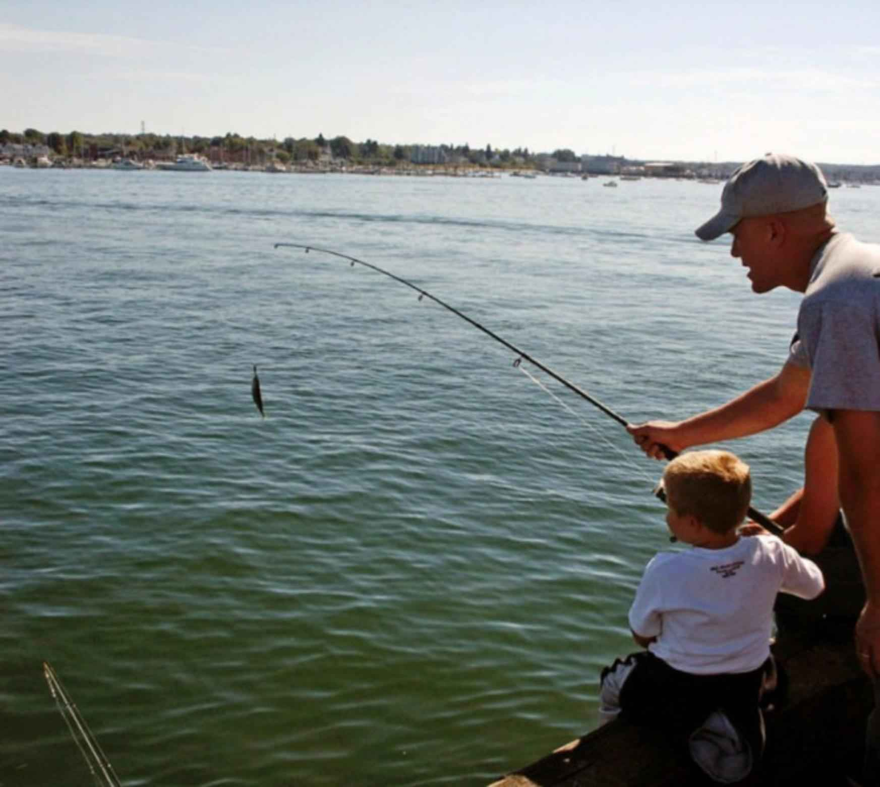 File father and son fishing little boy helps his father to for Little boy fishing