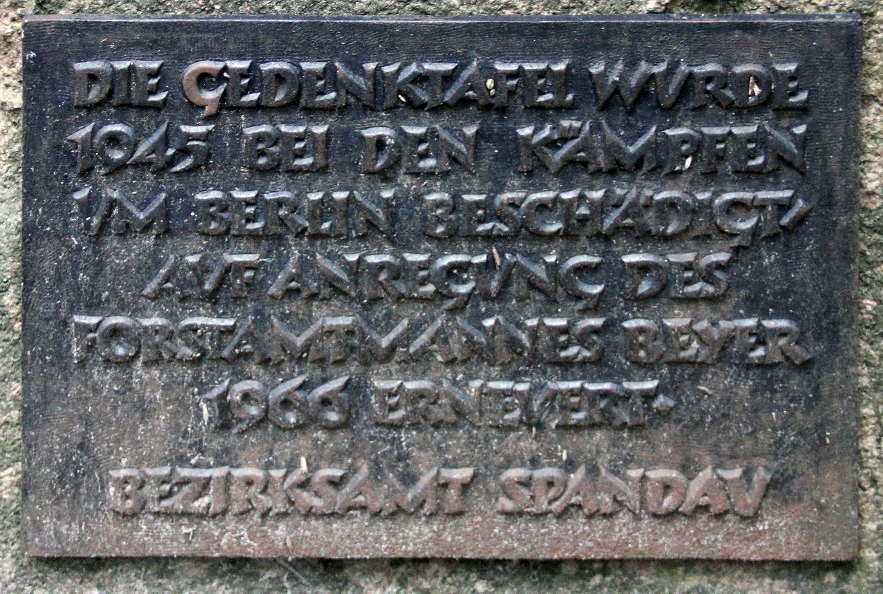 Filegedenktafel Forst Spandau Jagen 69 Haken Kronprinzenbuche4