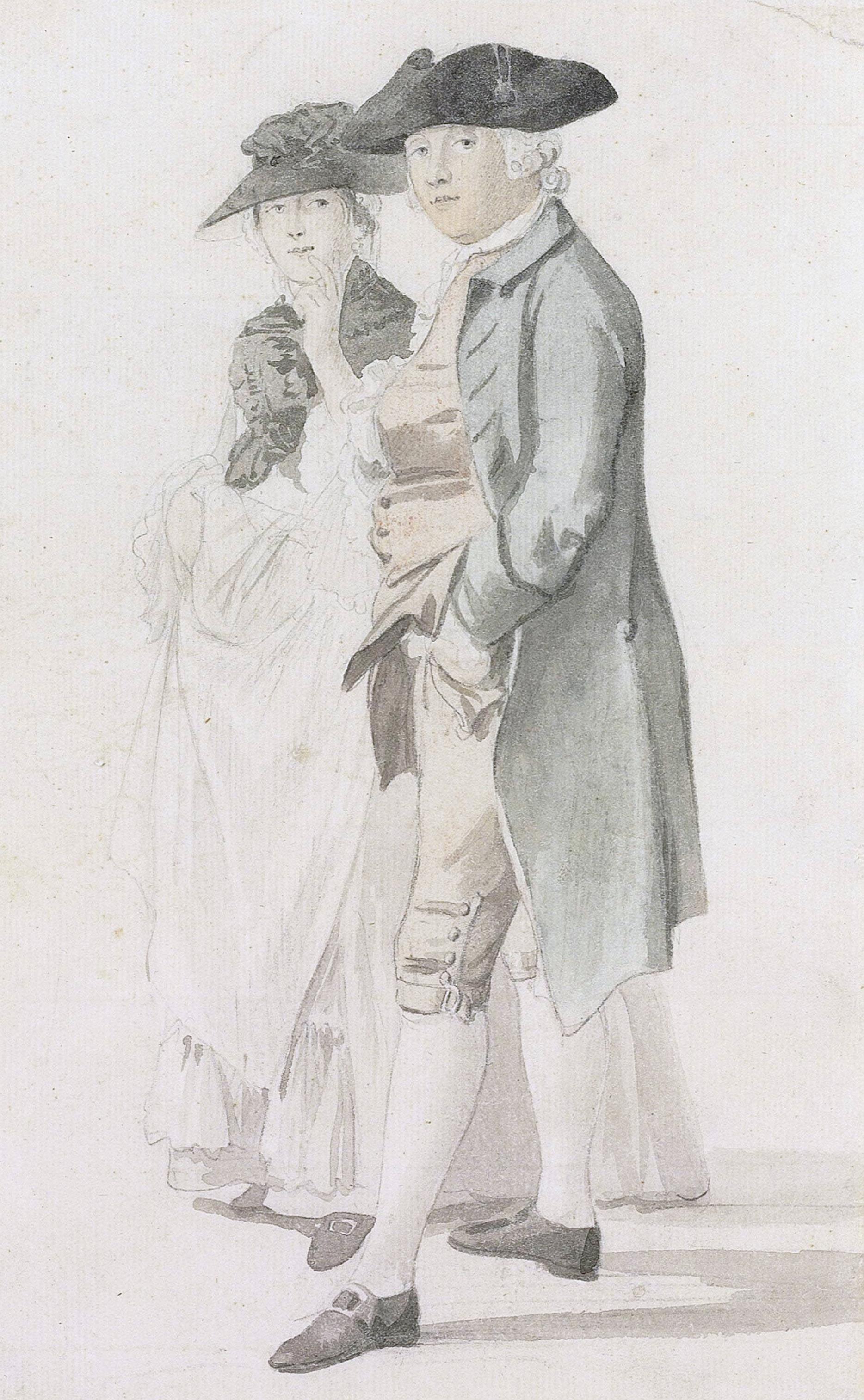 George Alexander Stevens and Mrs Paul Sandby ([[Paul Sandby