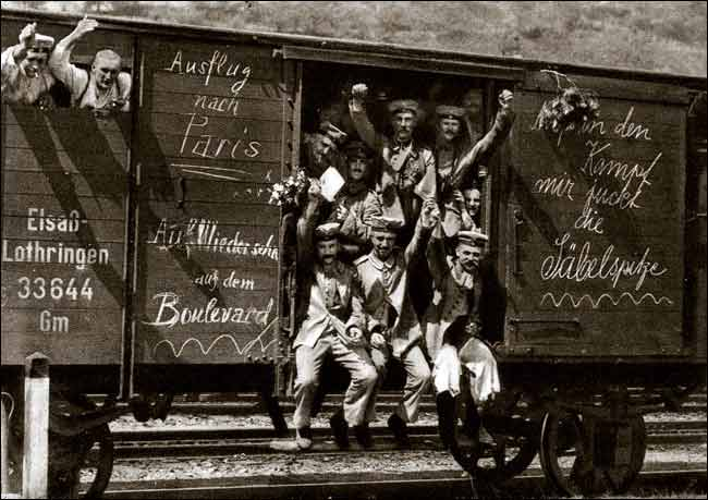 File:German soldiers in a railroad car on the way to the front during early World War I, taken in 1914. Taken from greatwar.nl site.jpg