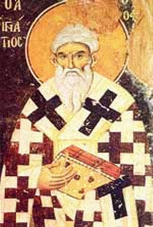 "The first use of the term ""Catholic Church"" (literally meaning ""universal church"") was by the church father Saint Ignatius of Antioch (c. 50-140) in his Letter to the Smyrnaeans (circa 110 AD). He died in Rome, with his relics located in the Basilica of San Clemente al Laterano. Ignjatije Antiohijski.jpg"