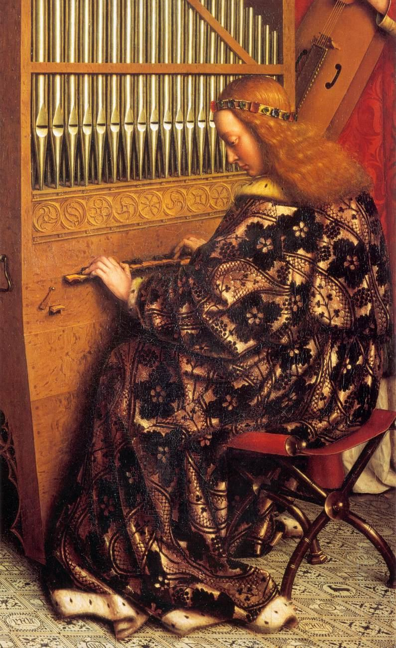 Jan van Eyck - Angels Playing Music (detail) -  dans immagini sacre Jan_van_Eyck_-_The_Ghent_Altarpiece_-_Angels_Playing_Music_(detail)_-_WGA07648