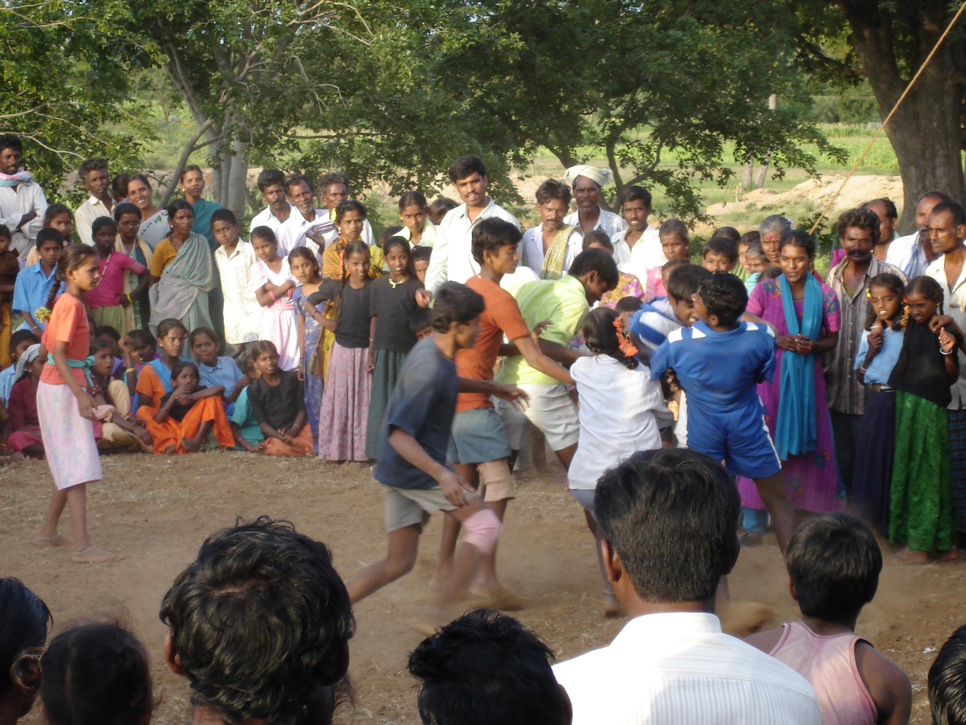 A game of kabaddi in Bagepalli, Karnataka