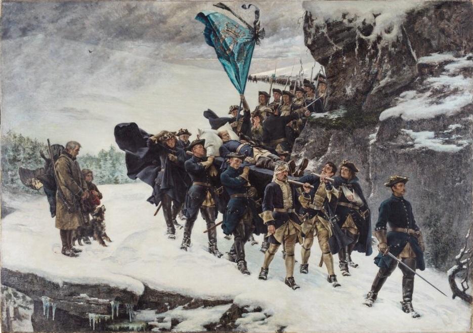 Karl XII likfärd målning Gustav Cederström