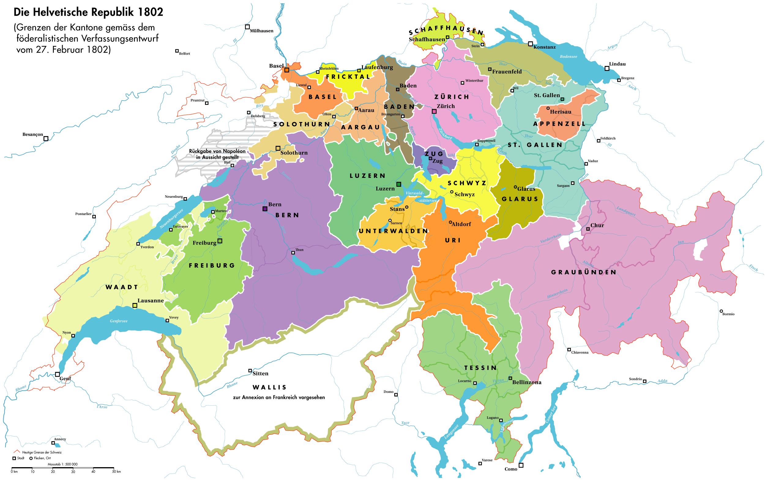 Karte Schweiz Kantonsgrenzen