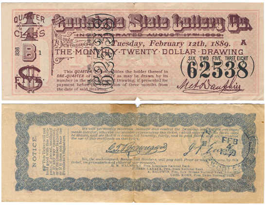 Description Louisiana state lottery ticket front back.png