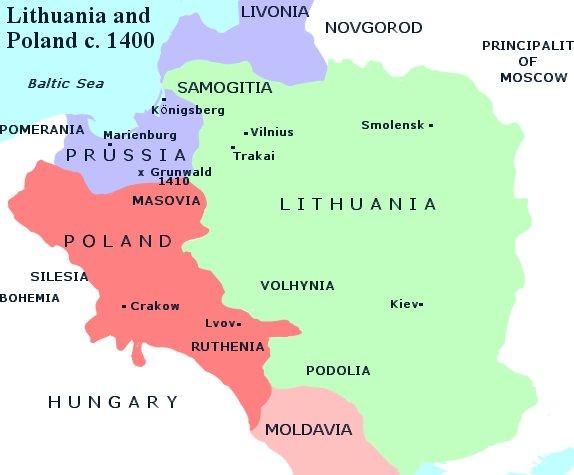 Vaizdas Map Of Lithuania And Poland C 1400 Jpg Vikipedija