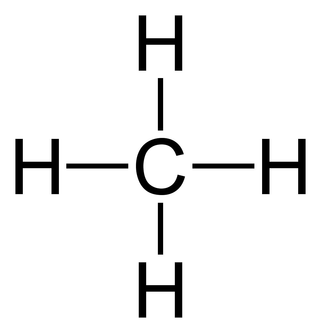 Molecular and structural formula of methane