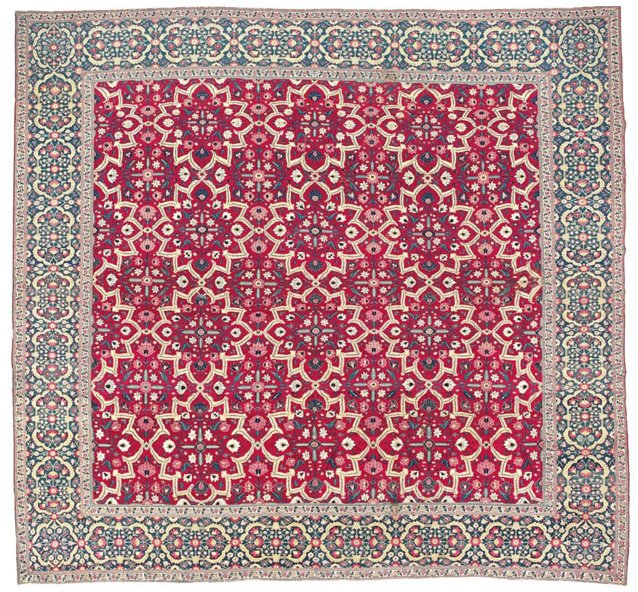 Millefleur 'Star-Lattice' carpet, 17th-early 18th century Mughal India, Christie's