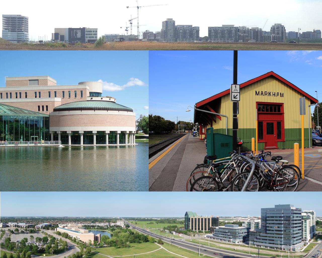 由上至下:万锦市市中心的天际线、万锦市市政府大楼、万锦火车站、万锦中心地带一览
