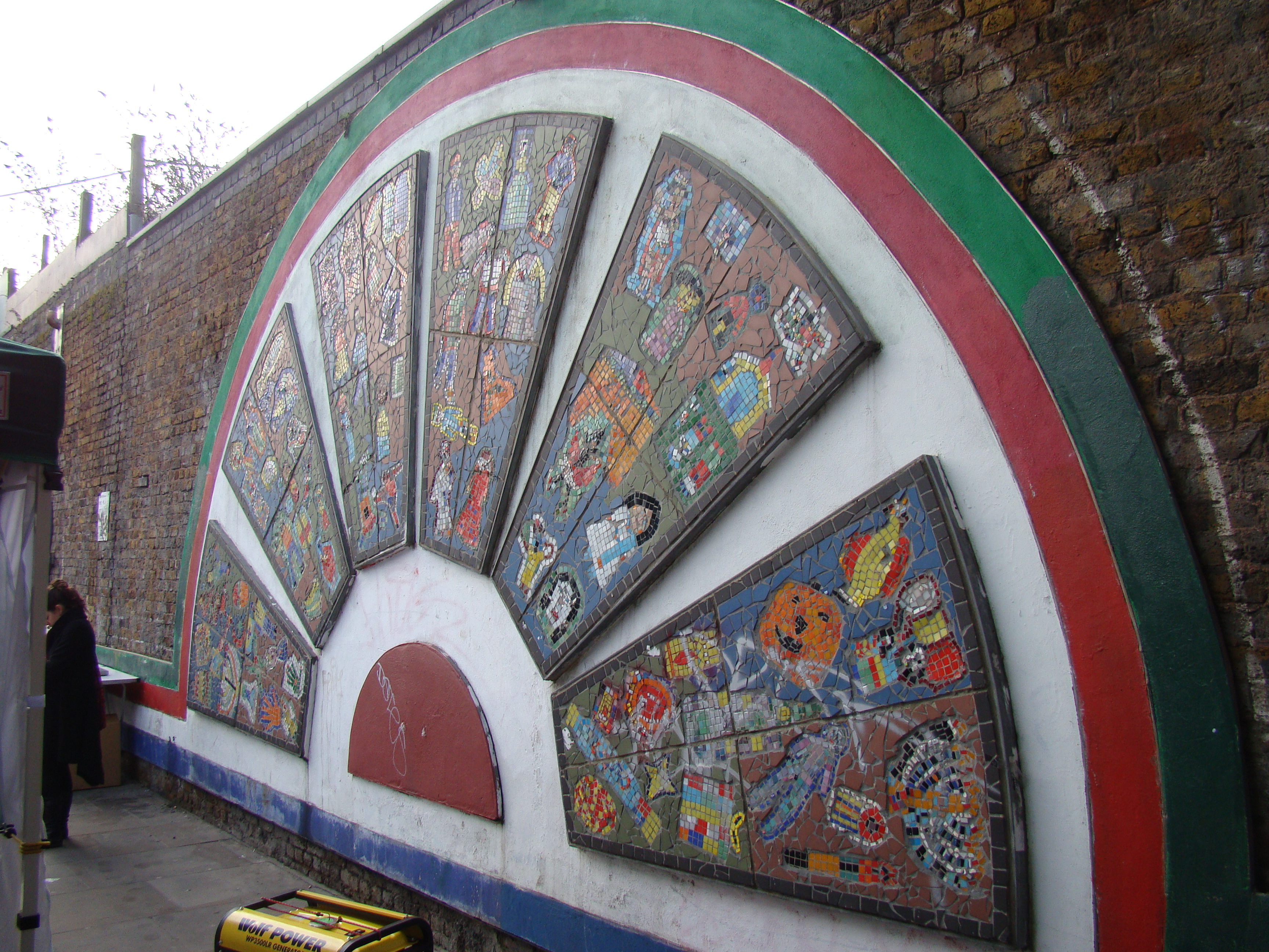 Description Mosaic design on brick wall on Brick Lane   geograph org