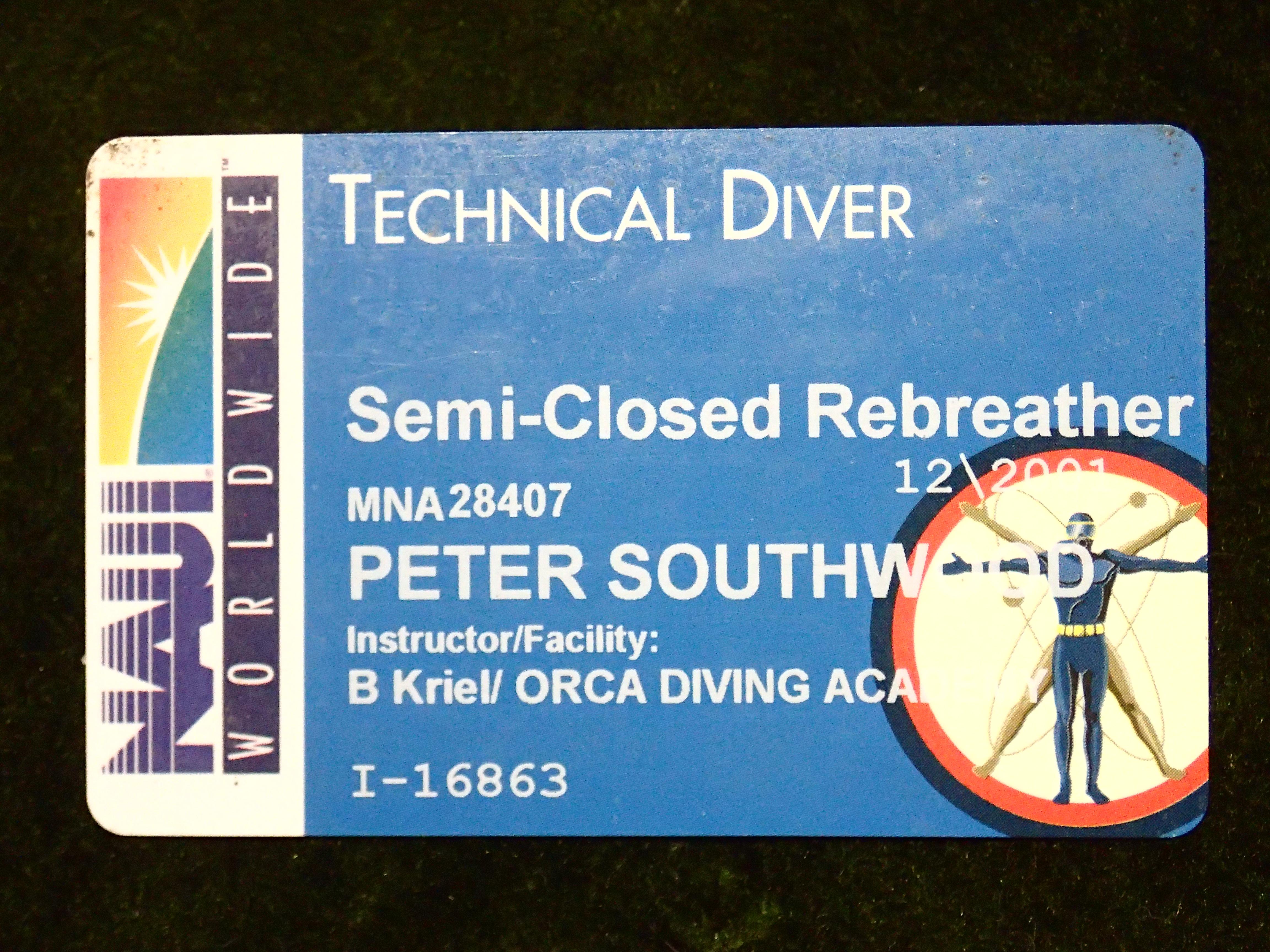 Filenaui Semi Closed Rebreather Certification Card Pc160017g