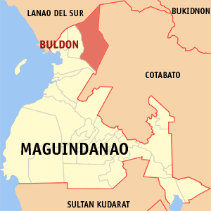Map of Maguindanao showing the location of Buldon
